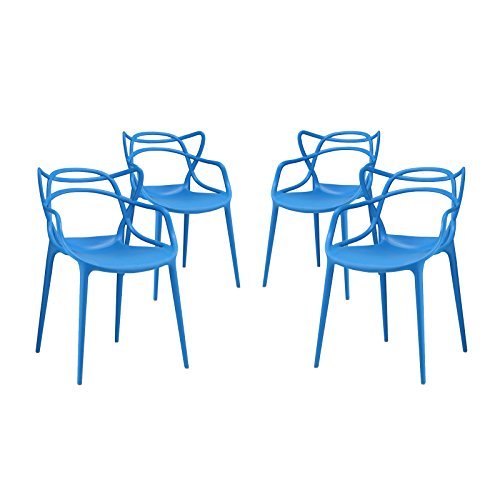 Modway Entangled Contemporary Modern Dining Armchairs in Blue – Set of 4