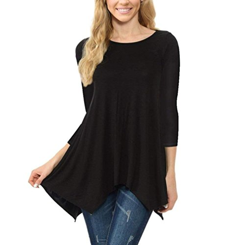 iDWZA Womens Comfortable O Neck Irregular Hem Casual Solid Color Tops Blouse T Shrit (Black, S)