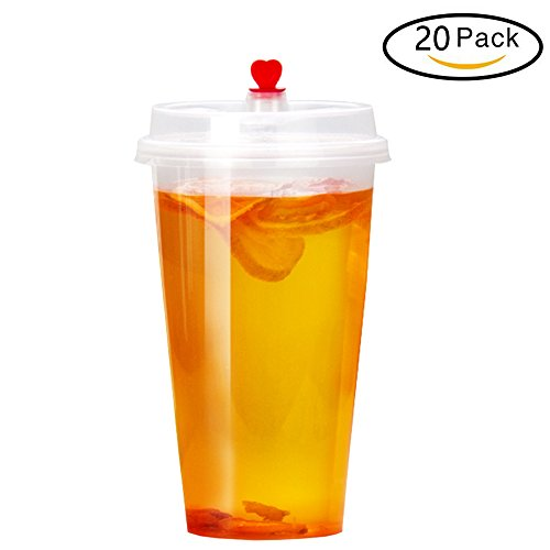 Folinstall 16 Ounce Hot&Cold Plastic Cups with Lids, Airtight, Leak Proof, Microwave&Dishwasher Safe, Stackable, Clear [20 Sets]