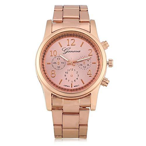 Luxury Stainless Steel Trustworthy Quartz Wrist Watch Women Faux Chronograph Plated Geneva Clock Watch 3 Colors