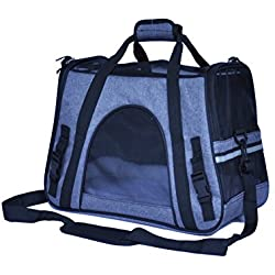 EBRICKON Portable Pet Bag Backpack Dog Cat Carrier Travel Pack Teddy Outgoing Packets With Cashmere Pad Shoulder Bag Pet Handbag for Dogs (Gray)