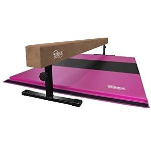 Nimble Sports Gymnastics Beam and Mat Combo Tan, 12 to 18 Inch High 8 Feet Long Balance Beam with Pink and Black 4 Feet X 6 Feet Folding Mat