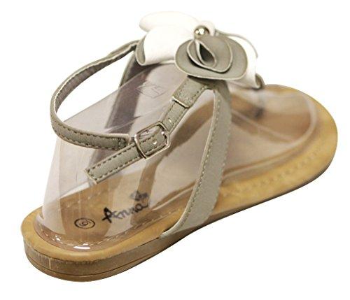 Anna Jeffery-11 Womens T-strap beads flower adjustable ankle strap flat Sandals Grey mG5pY