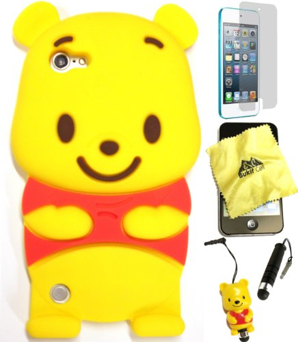 Bukit Cell ® 3D Disney Case Bundle - 5 items: YELLOW 3D Winnie The Pooh Bear Silicone Case Cover for iPod Touch 6TH/ 5th Generation + BUKIT CELL Trademark Cloth + Pooh FigureStylus Touch Pen + Screen Protector + METALLIC Stylus Touch Pen