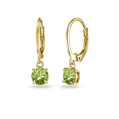 LOVVE Yellow Gold Flashed Sterling Silver Peridot 6mm Round Dangle Leverback Earrings