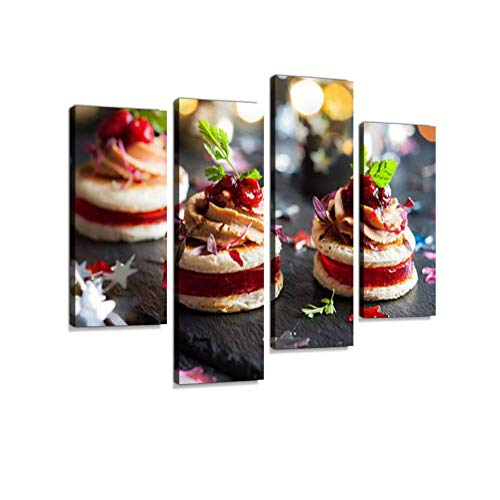 Foie gras and Cranberry Chutney Canvas Wall Art Hanging Paintings Modern Artwork Abstract Picture Prints Home Decoration Gift Unique Designed Framed 4 Panel