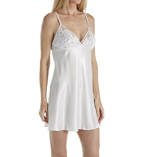 OSCAR DE LA RENTA Pink Label Women's Silky Charmeuse with Laser Cut Lace Chemise, Pearl L