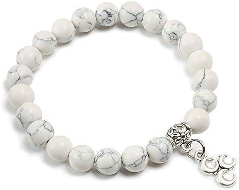 BIJOUX Pulsera blanca de mármol Pulsera de piedra natural vintage para mujer Boho Beads Moon Colgante Strands Hombres Joyería Pareja Regalos Accesorios de ropa personalizados y regala a tus amigos