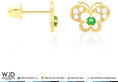 7ae1a496a 14k Yellow Gold Pave Birthstone CZ Butterfly Screw Back Stud Kid Earrings,  Emerald