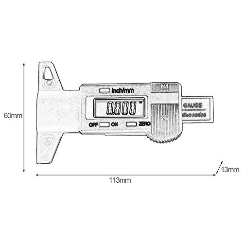 Digitale Auto Reifenprofiltiefenmesser 0-25mm Reifenprofiltiefenmesser Meter Messwerkzeug Messschieber LCD Display Reifenmessung