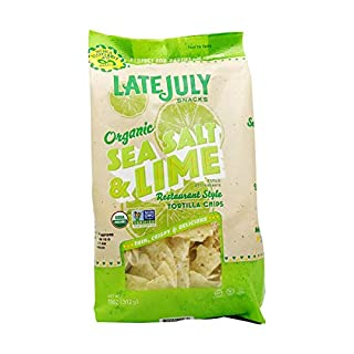 LATE JULY Snacks Restaurant Style Sea Salt & Lime Tortilla Chips, 11 oz. Bag