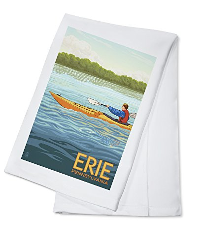 Erie, Pennsylvania - Kayak Scene (100% Cotton Kitchen - Erie Towel Bar
