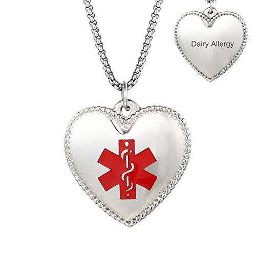 Sunling Custom Name Date Stainless Steel Medical Alert Food Penicillin Nut Latex Allergy Awareness Heart Necklace Pendant for Kids,Daughter,Wife,Son,Grandma,SOS Emergency Life Saver,Free (Date Saver)