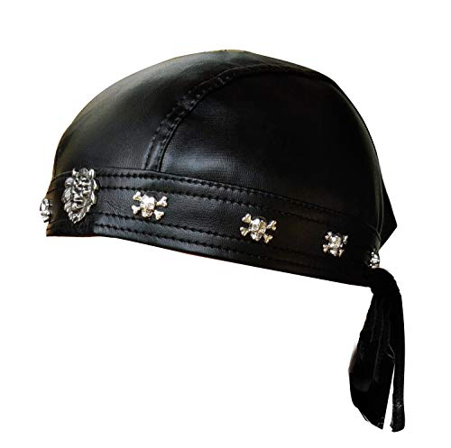 Leather Biker Skull Cap - Faux Leather Biker Skull Cap Motorcycle Bandana Head Wrap Du Doo Do Rag Black Hat