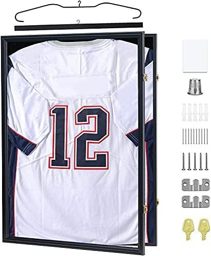 Temgee 2XL Jersey Display Frame – Jersey Frame Display Case – Jersey Shadow Box for Baseball Basketball Football Soccer Hockey Sports Shirts, Uniform, 98% UV Protection Acrylic Glass, 2 Hanger