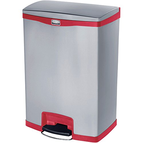 Rubbermaid Slim Jim 1901995 50 Litre Front Step Step-On Stainless Steel Wastebasket - Red