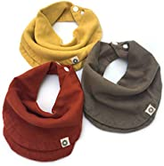 Indi by Kishu Baby - Infinity Scarf Bibs - Organic Drool Bib for Girls or Boys with Snaps - 100% Organic Cotton Muslin - 3 L