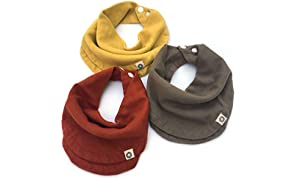 Indi by Kishu Baby - Infinity Scarf Bibs - Organic Drool Bib for Girls or Boys with Snaps - 100% Organic Cotton Muslin - 3 Luxuriously Soft, Solid Color Baby Drool Bibs (Rust Mustard Olive)