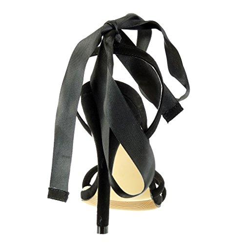 Mujer Talón Codones Nodo De Alto Saten Zapatillas Angkorly Aguja Tacón Escarpín Stiletto Sexy Negro Elegante Moda Cm 11 Sandalias COSBxqw8