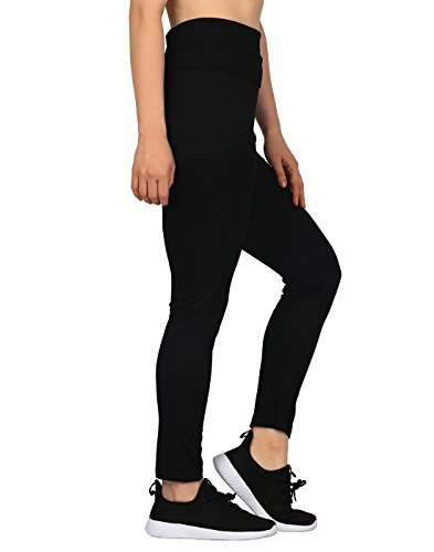 Black, Medium HDE Womens Maternity Yoga Pants Pregnancy Stretch Fold Over Lounge Leggings