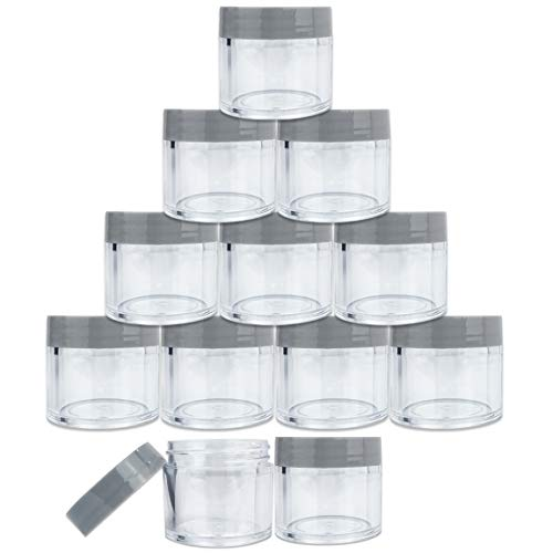 Beauticom 30G/30ML Clear Round Sample Container Jars with Gray Flat Top Lids for Lotion, Cream, Salves, Cosmetic and Makeup Samples - BPA Free (12 Pieces)