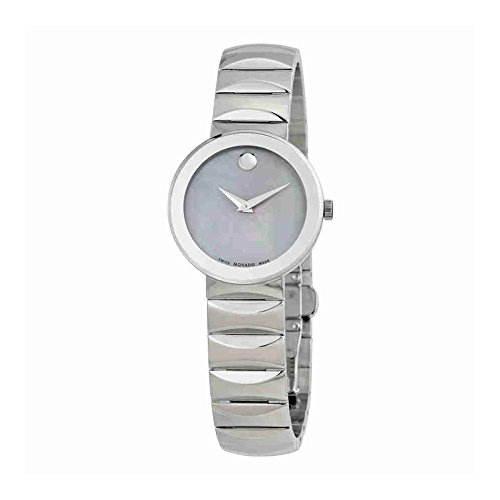 Movado Women's Swiss Stainless Steel Quartz Watch, Color:Silver-Toned (Model: 0607048) - Silver Museum Dial