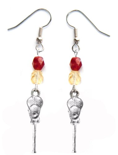 ''Lacrosse Stick & Ball'' Lacrosse Earrings (Team Colors Crimson & Gold) by Edge Sports