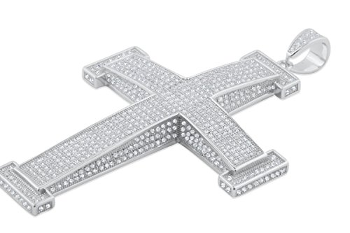 Extra Large Silver Cross Charm Mens Cross Pendant Silver With Iced Out Pave CZ -