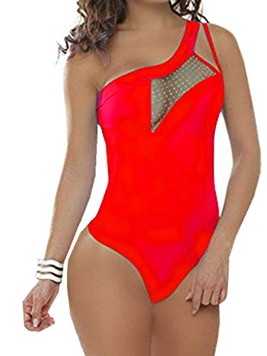 donna elegante senza Rosso tuta Body sexy 008 FARINA elasticizzato maniche 17qwx6TTfW