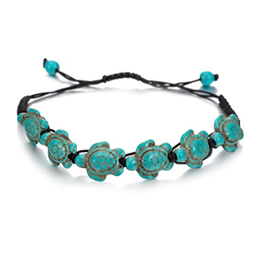 Vintage Turquoise Stone Turtle Beads Hand Woven Bracelet Adjustable Bohemian Wax Rope Braided ()