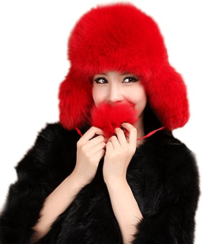 YR Lover Women's Fox Fur & Trapper Hats Warm Earmuffs Beret Caps