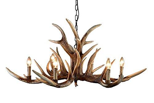 EFFORTINC Antlers vintage Style resin 6 light chandeliers...
