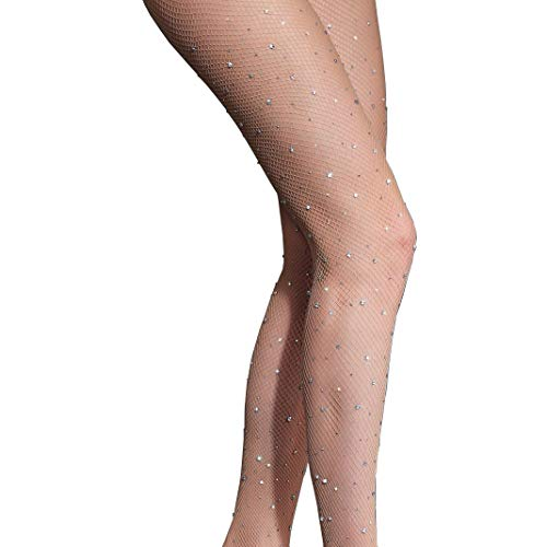 (Anlaey Rhinestone Fishnets Fishnet Stockings Festival Glitter Tights Sparkle Rave Fishnet Tights for Women)