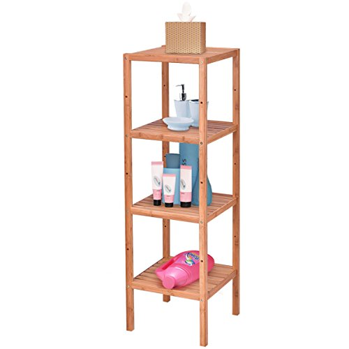 Giantex 4-Tier Bamboo Storage Shelf Multifunctional Storage Rack Bathroom Shelving Unit Towel Rack Standing Organizer by Giantex