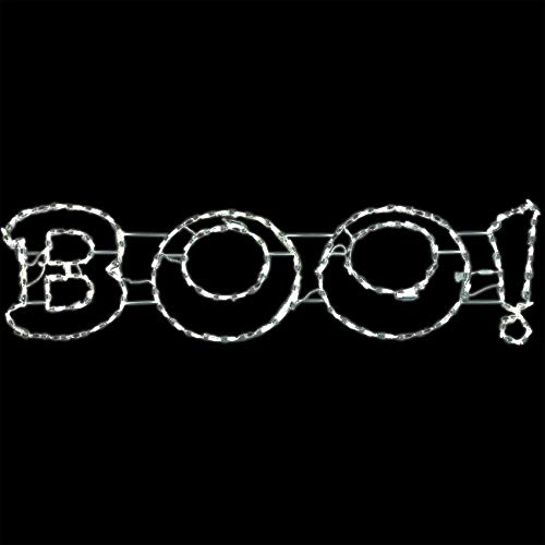 Boo Signs For Halloween (Haunted Hill Farm FFHELED063-BOO0-WT Halloween Giant Outdoor LED Lights, Boo Sign (63 x 16 inches), Color)