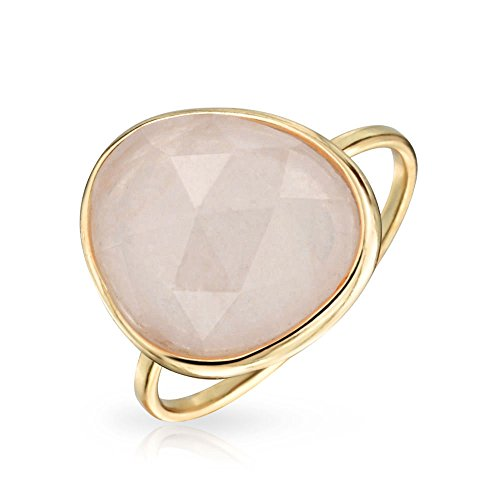 Bling Jewelry Simulated Rose Quartz Glass Gold Plated Sterling Silver Ring