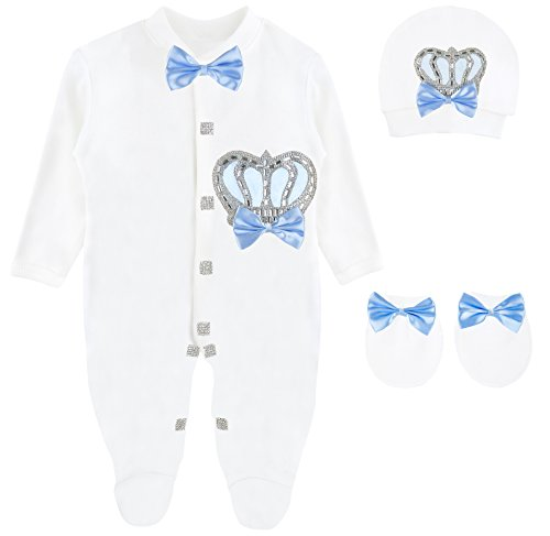 Blue Full Rhinestones Snap - Lilax Baby Boy Newborn Crown Jewels Layette 3 Piece Gift Set 0-3 Months Blue