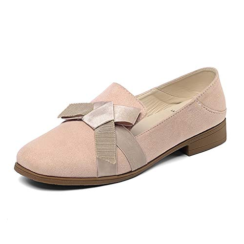 Oxford Mujer Redonda Con Casual Pink Punta Zapatos Mujer Para Slip On zapatos Nudo Loafers Yxx Mariposa Perezosos zfZUw