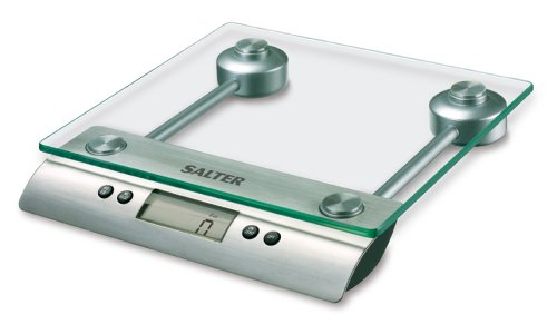 Salter Aquatronico Digital Kitchen Weighing Scales – Stylish Glass Platform / Silver Design Electronic Cooking Scale Appliance for Home and Kitchen, Weigh Food with Accurate Precision up to 5kg + Aquatronic Feature for Liquids in ml and fl. Oz. 10 Year Guarantee