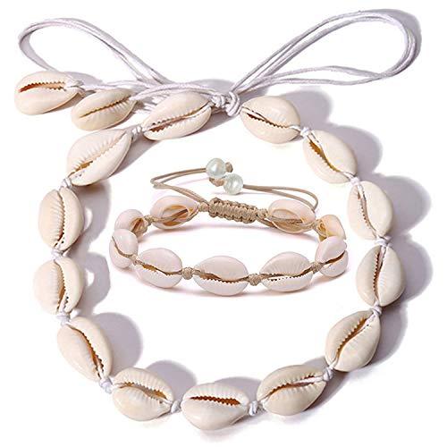 (Spiritlele 2 Pack Pearl Shell Choker Necklace Set Cowry Beach Anklet Bracelet for Women (White Rope))
