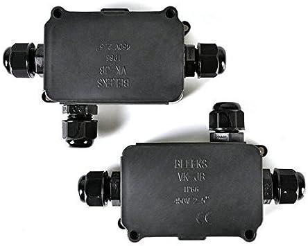 Idealeben 2pcs Caja de Conexión IP66 Diámetro del Cable de 4-8mm (Negra): Amazon.es: Bricolaje y herramientas