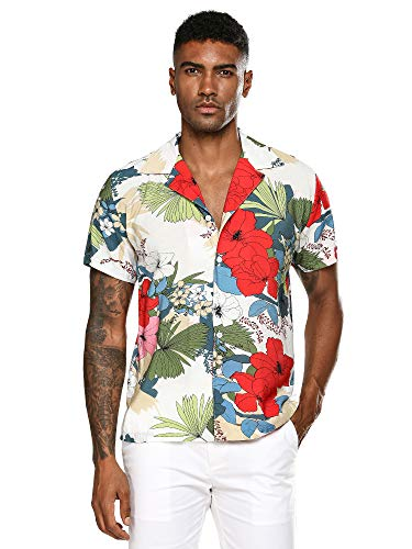 (Men's Short Sleeve Button Down Beach Aloha Shirt Alvish Floral Print Hawaiian Shirt (White,XXL))