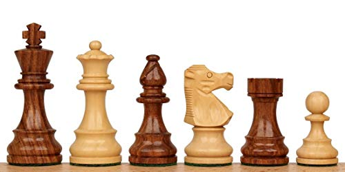French Lardy Staunton Chess Set with Golden Rosewood & Boxwood Pieces - 3.25