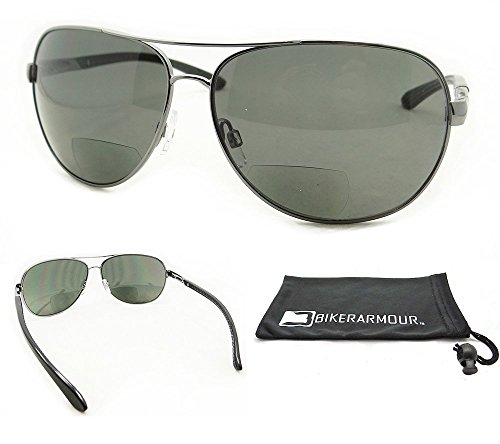 Aviator Polarized Bifocal Sunglasses for Men. Aailable in 1.50, 2.00, 2.50 and 3.00 (Smoke Lens, - Aviation Sunglasses