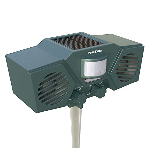 PestZilla™ Robust Solar Powered Ultrasonic and Flashing LED lights Outdoor Animal & Pest Repeller - Activated with Motion