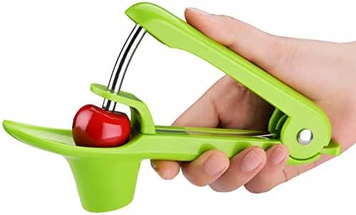 OMorc Cherry Pitter, Cherry Stoner with Food-Grade Silicone Cup, Space-Saving Lock Design and Lengthened Splatter Shield Dishwasher Safe