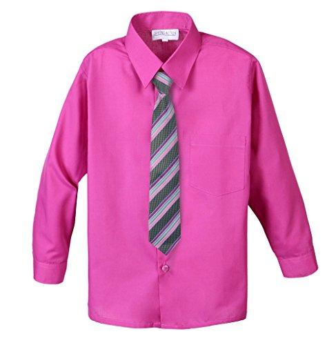 Spring Notion Big Boys' Cotton Blend Dress Shirt and Tie Set 7 Fuchsia