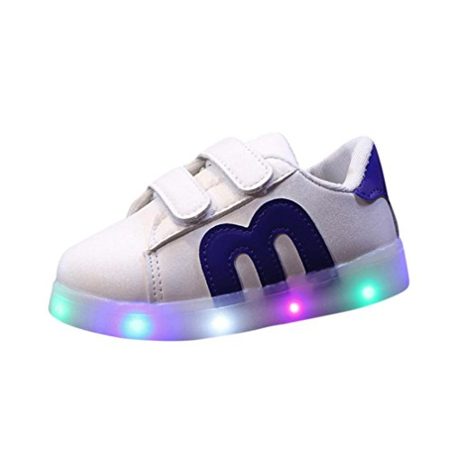 KONFA Teen Baby Boys Girls LED Light Up Sneakers,for 1-6 Years old,Kids Stylish Luminous Leather Sport Shoes (Blue, 0.5-1 Year old)