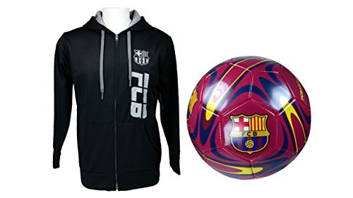 FC Barcelona Official Soccer Hoodie Jacket & Size 5 Ball Combo Adult 12 Large by F.C. Barcelona