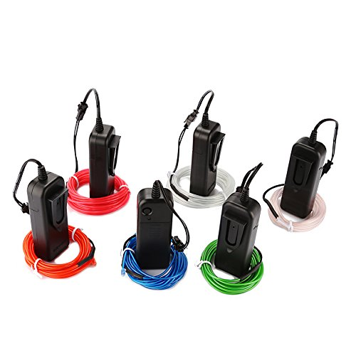 Accmor 6 Pack 9ft EL Wire , Super Bright Neon Light Glowing Electroluminescent Wire with Battery Pack + Driver + Splitter - for Christmas, Party (Red, Blue, Pink, Green, White, Clear Blue) (Strobe Light Slow Motion compare prices)